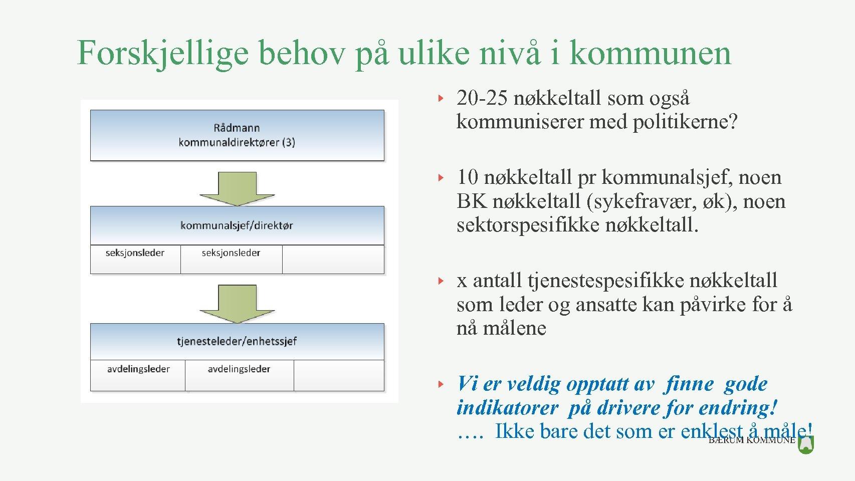 Forskjellige behov på ulike nivå i kommunen 20 -25 nøkkeltall som også kommuniserer med