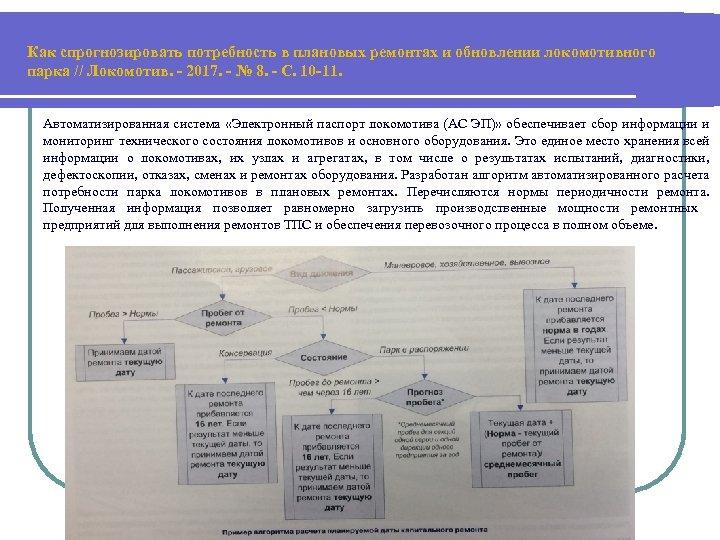 Как спрогнозировать потребность в плановых ремонтах и обновлении локомотивного парка // Локомотив. - 2017.