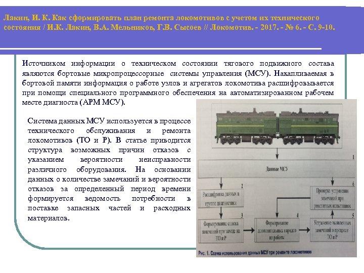 Лакин, И. К. Как сформировать план ремонта локомотивов с учетом их технического состояния /