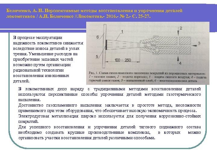 Беличенко, А. П. Перспективные методы восстановления и упрочнения деталей локомотивов / А. П. Беличенко