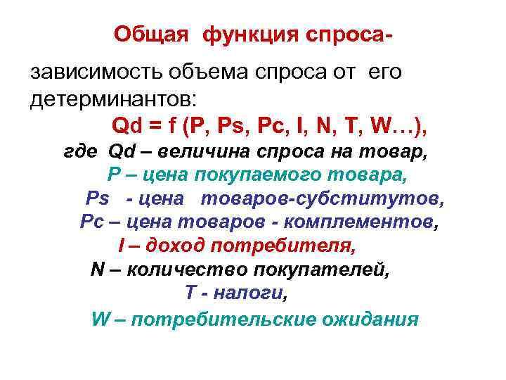 Общая функция спросазависимость объема спроса от его детерминантов: Qd = f (P, Ps, Pc,