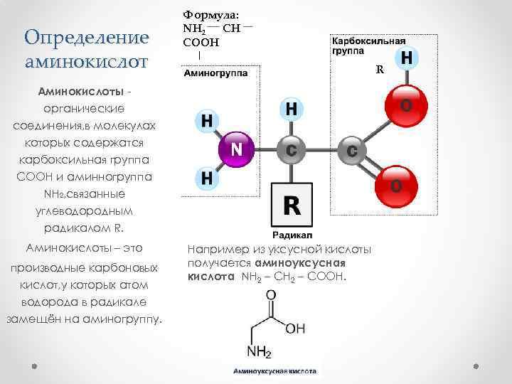 Определение аминокислот Формула: NH 2 CH COOH | R Аминокислоты органические соединения, в молекулах