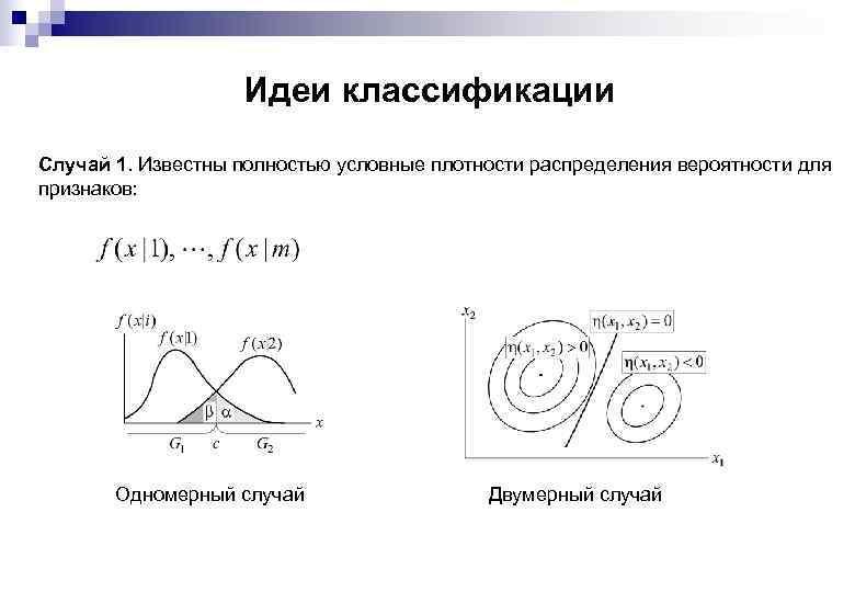 Идеи классификации Случай 1. Известны полностью условные плотности распределения вероятности для признаков: Одномерный случай
