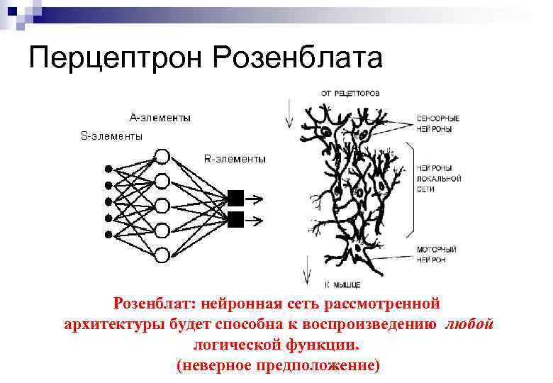 Перцептрон Розенблата Розенблат: нейронная сеть рассмотренной архитектуры будет способна к воспроизведению любой логической функции.