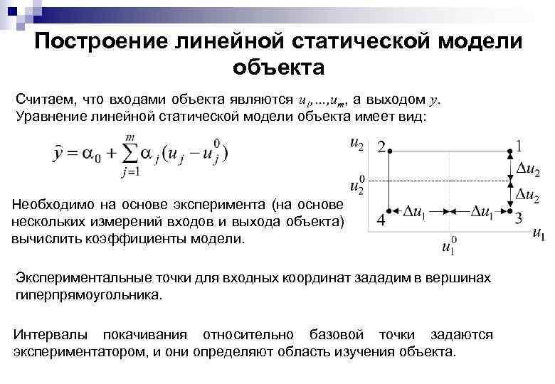 Построение линейной статической модели объекта Считаем, что входами объекта являются u 1, …, um,