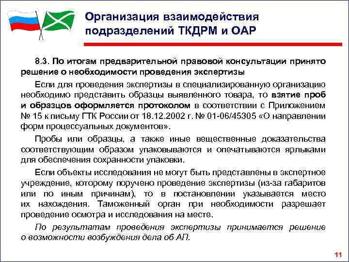 Организация взаимодействия подразделений ТКДРМ и ОАР 8. 3. По итогам предварительной правовой консультации принято