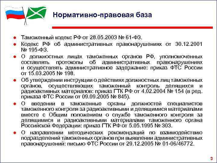 Нормативно-правовая база ● Таможенный кодекс РФ от 28. 05. 2003 № 61 -ФЗ. ●