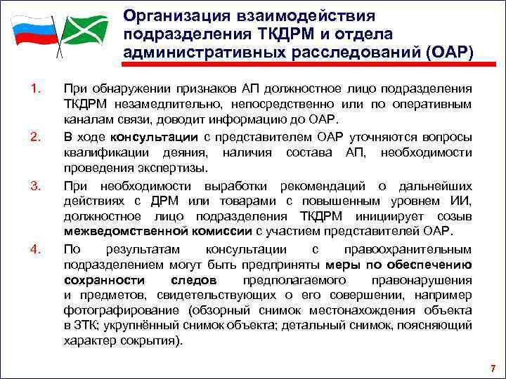 Организация взаимодействия подразделения ТКДРМ и отдела административных расследований (ОАР) 1. 2. 3. 4. При