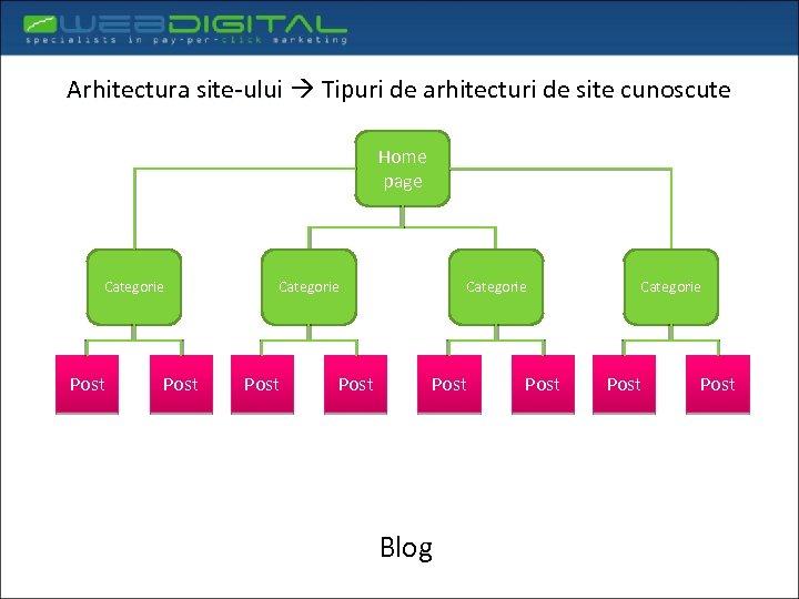 Arhitectura site-ului Tipuri de arhitecturi de site cunoscute Home page Categorie Post Categorie Post