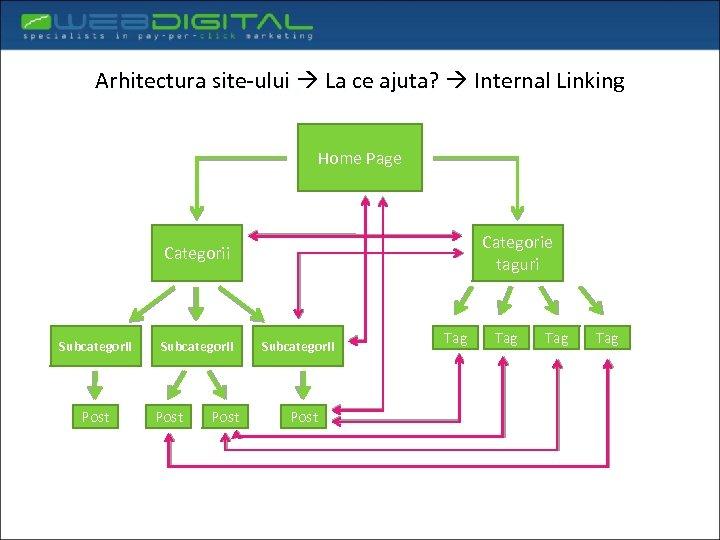 Arhitectura site-ului La ce ajuta? Internal Linking Home Page Categorie taguri Categorii Subcategorii Post