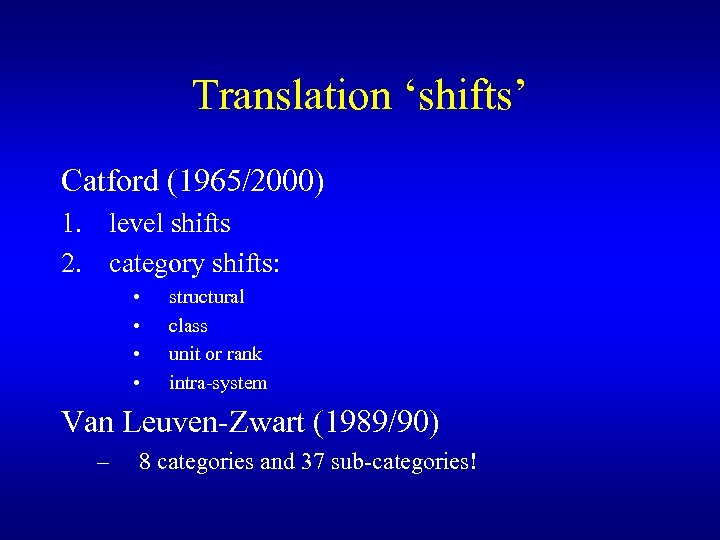 Translation 'shifts' Catford (1965/2000) 1. level shifts 2. category shifts: • • structural class