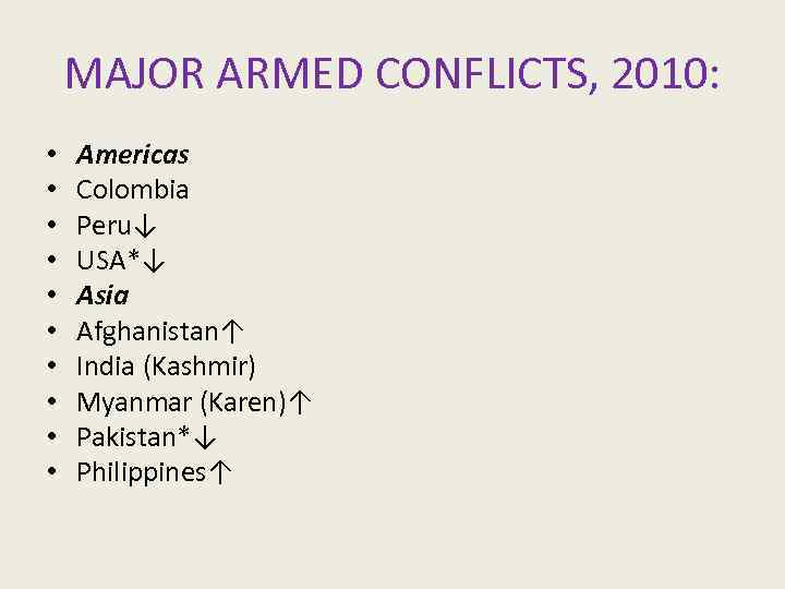 MAJOR ARMED CONFLICTS, 2010: • • • Americas Colombia Peru↓ USA*↓ Asia Afghanistan↑ India