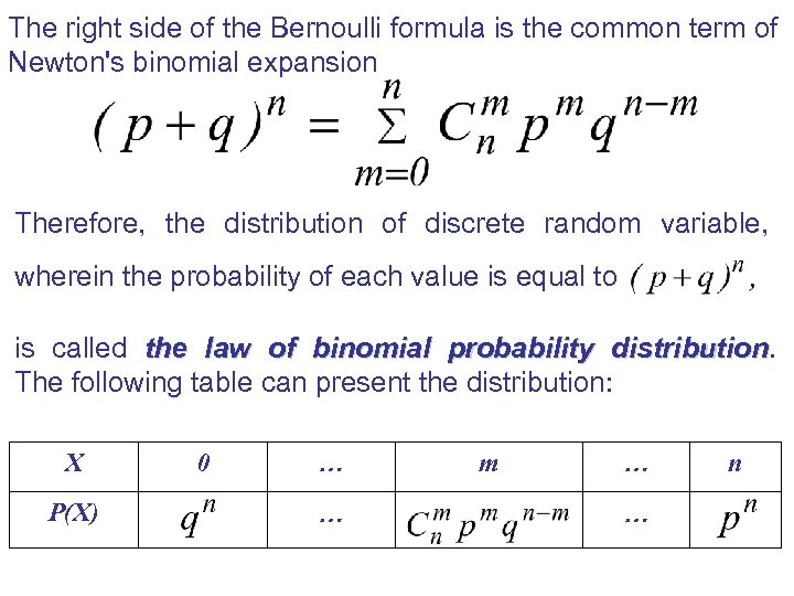The right side of the Bernoulli formula is the common term of Newton's binomial