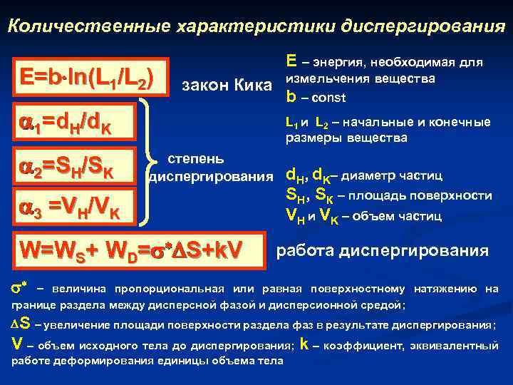 Количественные характеристики диспергирования Е=b ln(L 1/L 2) Е – энергия, необходимая для измельчения вещества