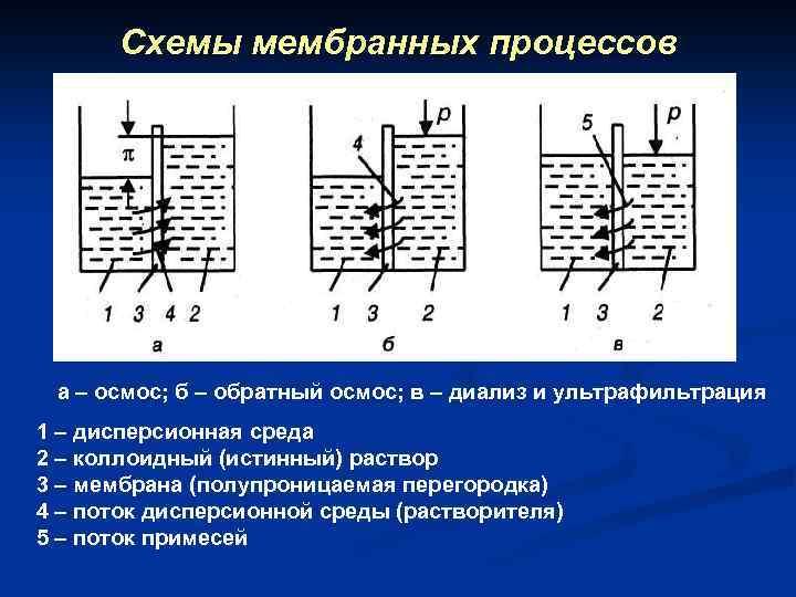 Схемы мембранных процессов а – осмос; б – обратный осмос; в – диализ и