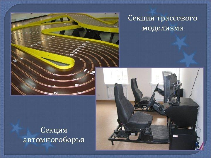 Секция трассового моделизма Секция автомногоборья