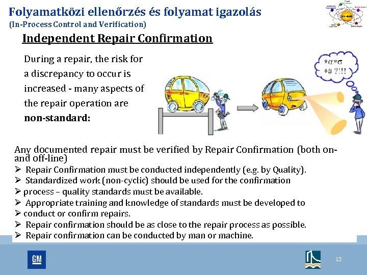 Folyamatközi ellenőrzés és folyamat igazolás (In-Process Control and Verification) Independent Repair Confirmation During a
