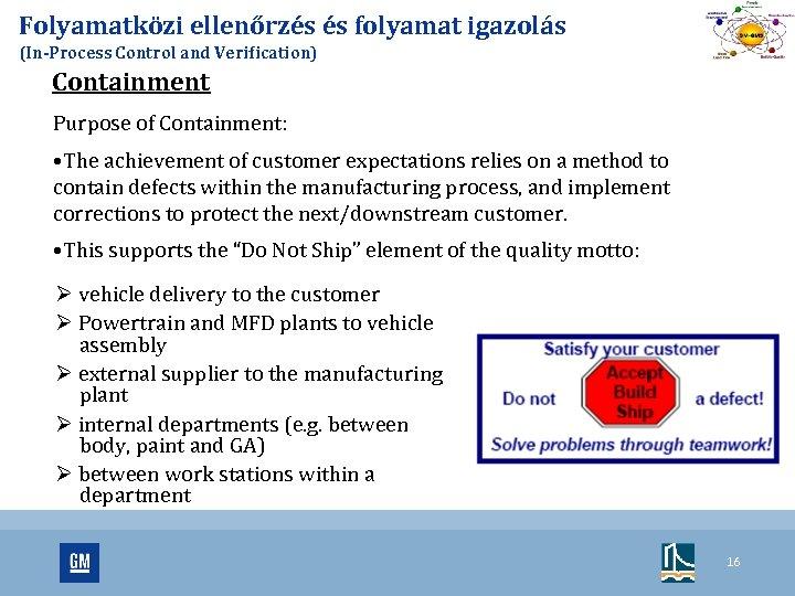 Folyamatközi ellenőrzés és folyamat igazolás (In-Process Control and Verification) Containment Purpose of Containment: •
