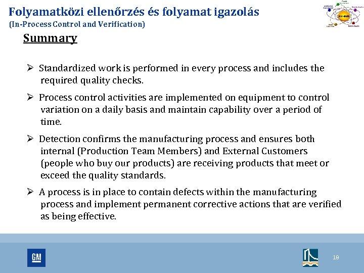 Folyamatközi ellenőrzés és folyamat igazolás (In-Process Control and Verification) Summary Ø Standardized work is