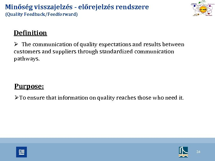 Minőség visszajelzés - előrejelzés rendszere (Quality Feedback/Feedforward) Definition Ø The communication of quality expectations