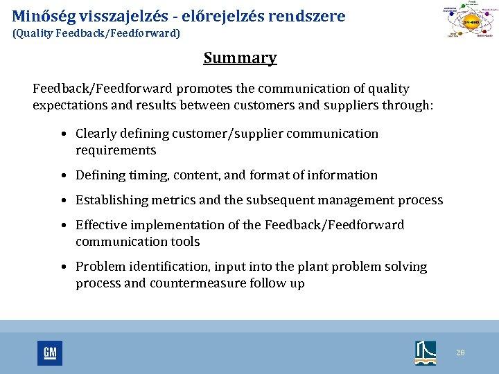 Minőség visszajelzés - előrejelzés rendszere (Quality Feedback/Feedforward) Summary Feedback/Feedforward promotes the communication of quality