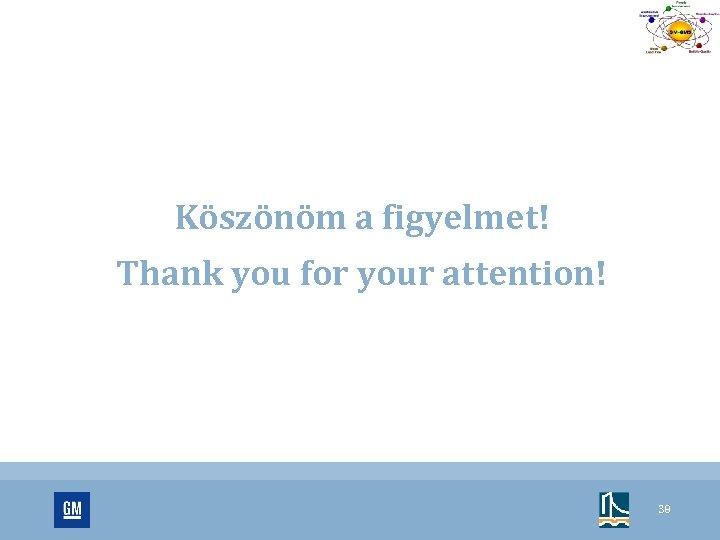 Köszönöm a figyelmet! Thank you for your attention! 38