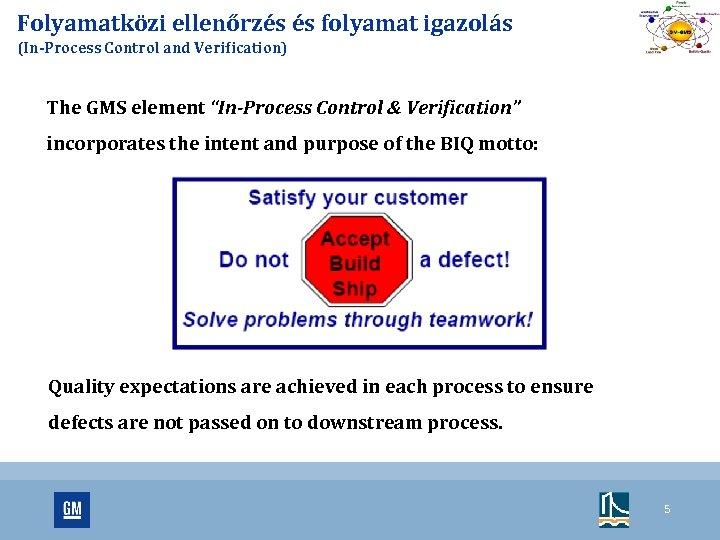 """Folyamatközi ellenőrzés és folyamat igazolás (In-Process Control and Verification) The GMS element """"In-Process Control"""