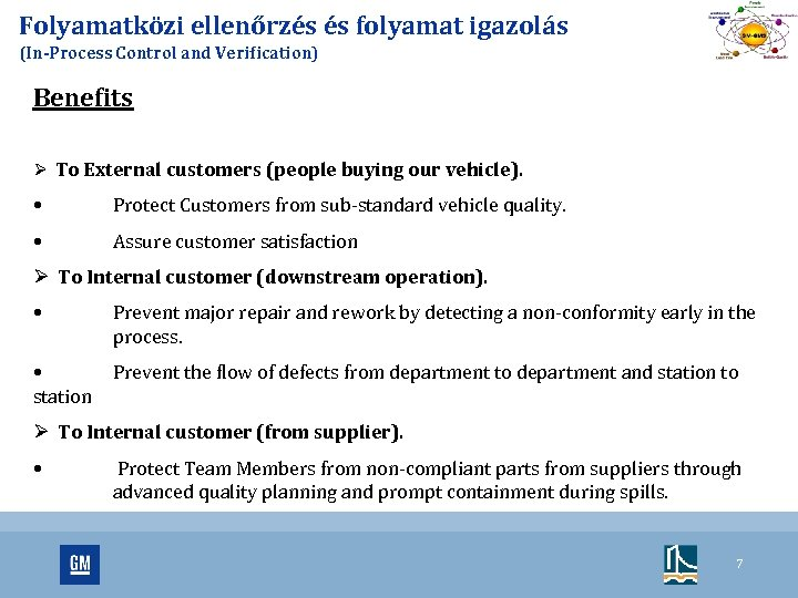 Folyamatközi ellenőrzés és folyamat igazolás (In-Process Control and Verification) Benefits Ø To External customers