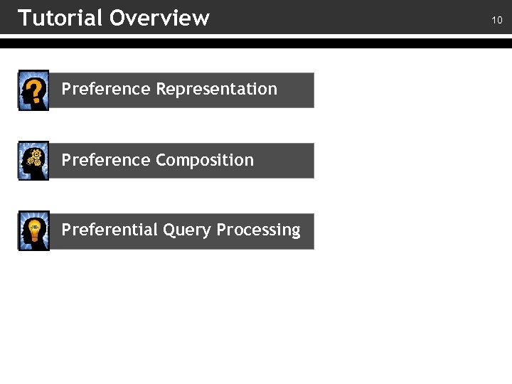 Tutorial Overview Preference Representation Preference Composition Preferential Query Processing 10