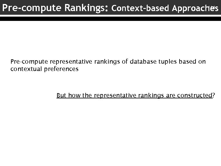 114 Pre-compute Rankings: Context-based Approaches Pre-compute representative rankings of database tuples based on contextual