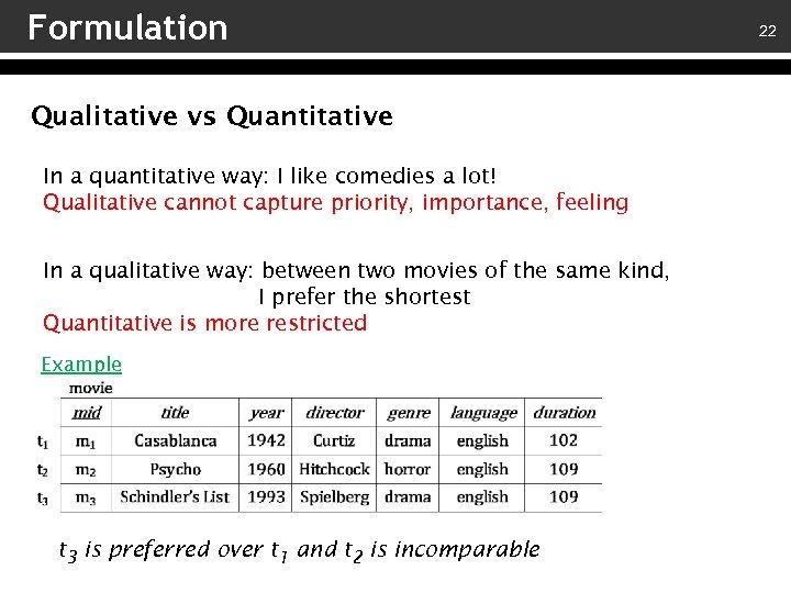 Formulation Qualitative vs Quantitative In a quantitative way: I like comedies a lot! Qualitative