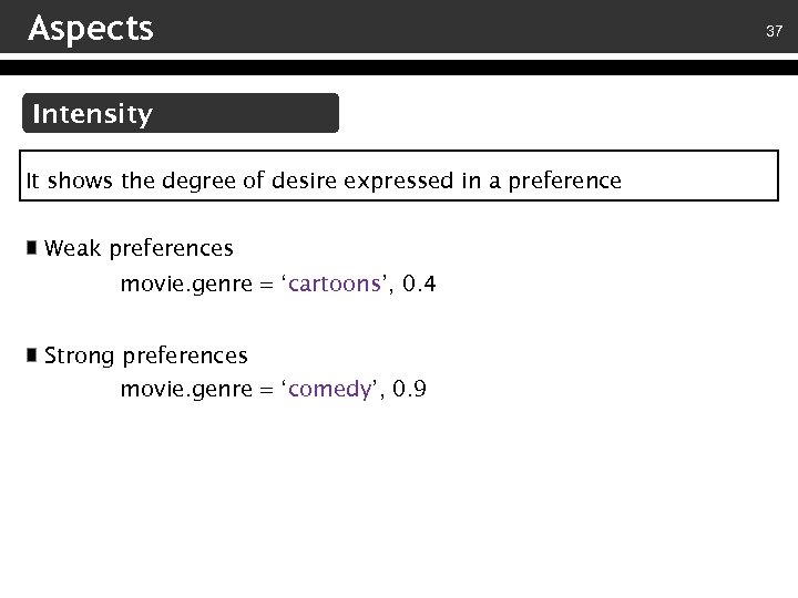 Aspects Intensity It shows the degree of desire expressed in a preference Weak preferences