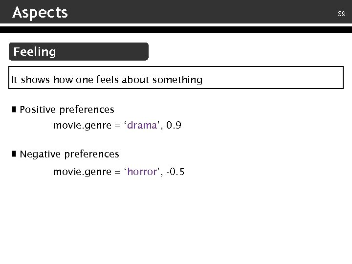 Aspects Feeling It shows how one feels about something Positive preferences movie. genre =