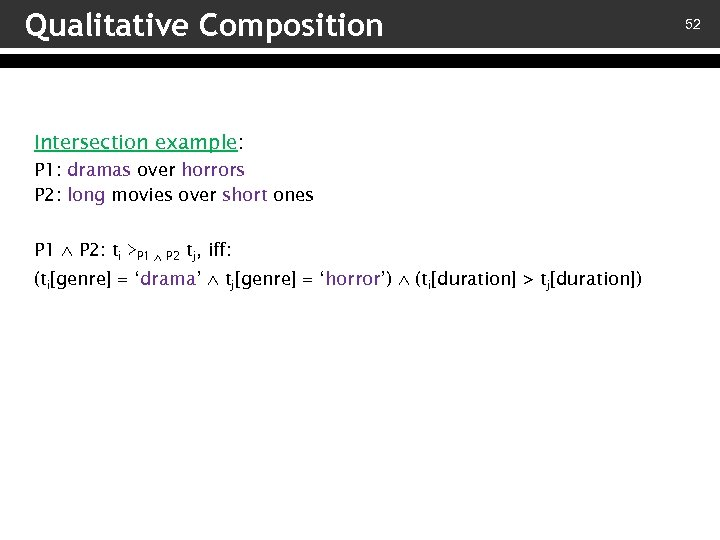 Qualitative Composition Intersection example: P 1: dramas over horrors P 2: long movies over
