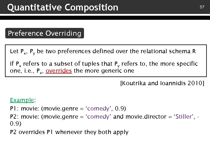 Quantitative Composition 57 Preference Overriding Let Px, Py be two preferences defined over the