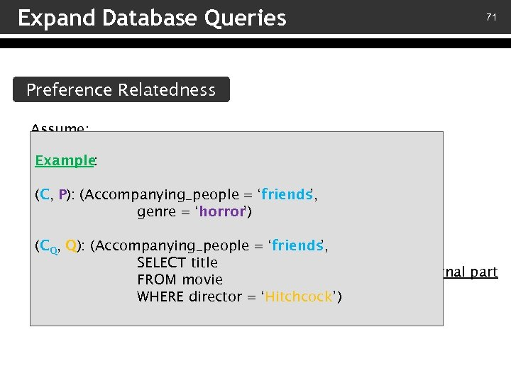 Expand Database Queries 71 Preference Relatedness Assume: – A preference (C, P) Example :