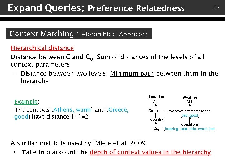 Expand Queries: Preference Relatedness 75 Context Matching : Hierarchical Approach Hierarchical distance Distance between