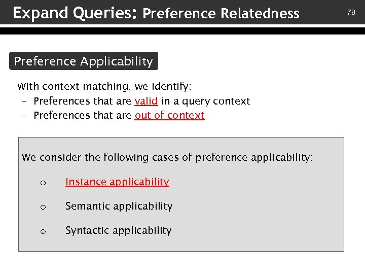 Expand Queries: Preference Relatedness Preference Applicability With context matching, we identify: – Preferences that