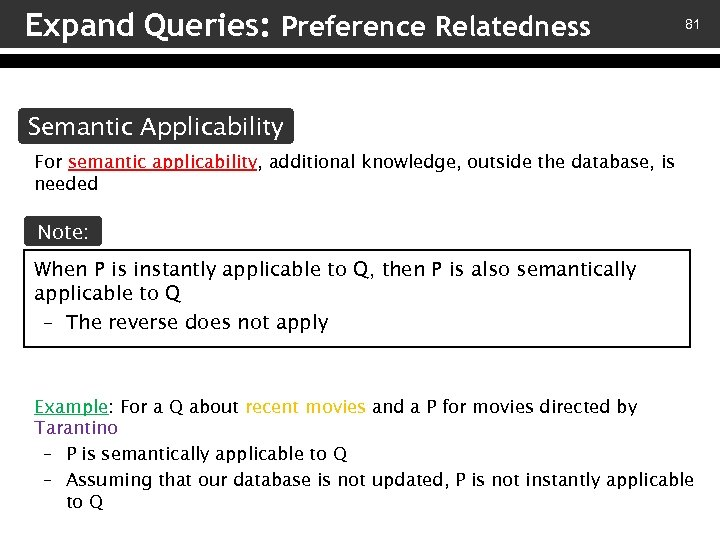 Expand Queries: Preference Relatedness 81 Semantic Applicability For semantic applicability, additional knowledge, outside the