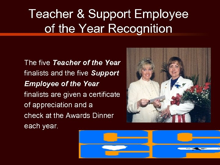 Teacher & Support Employee of the Year Recognition The five Teacher of the Year
