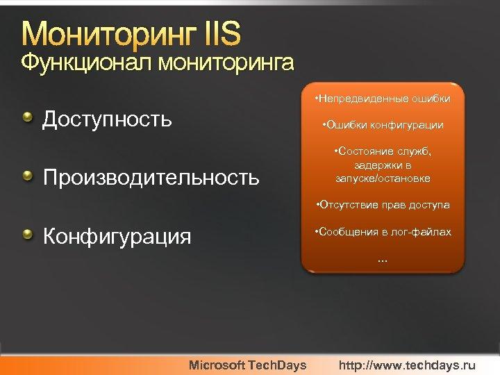 Мониторинг IIS Функционал мониторинга • Непредвиденные ошибки Доступность • Ошибки конфигурации Производительность • Состояние
