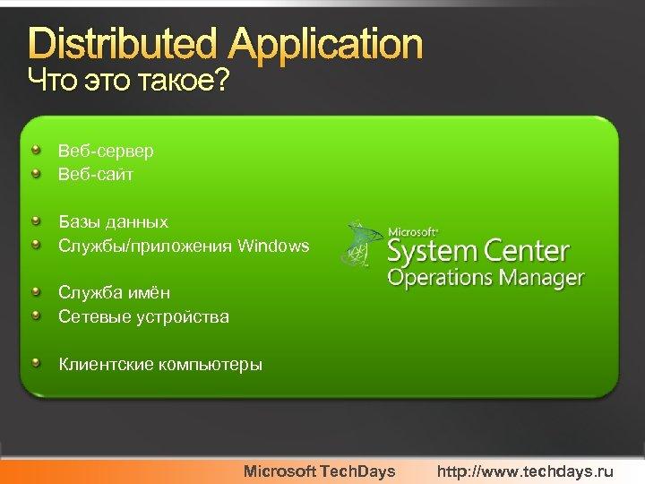 Distributed Application Что это такое? Веб-сервер Веб-сайт Базы данных Службы/приложения Windows Служба имён Сетевые