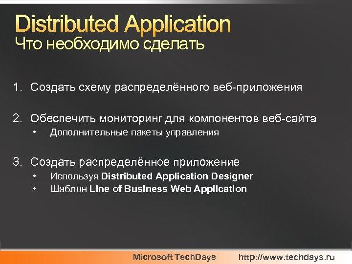 Distributed Application Что необходимо сделать 1. Создать схему распределённого веб-приложения 2. Обеспечить мониторинг для