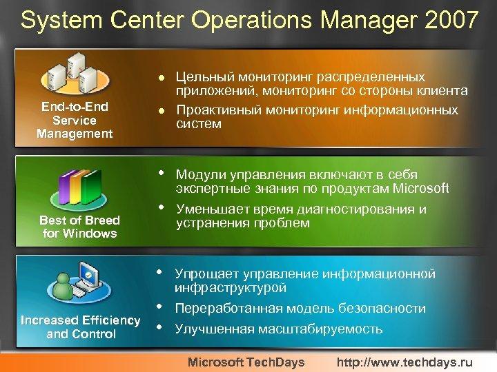 System Center Operations Manager 2007 l End-to-End Service Management l Цельный мониторинг распределенных приложений,