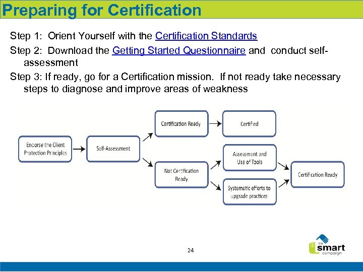 Preparing for Certification Step 1: Orient Yourself with the Certification Standards Step 2: Download