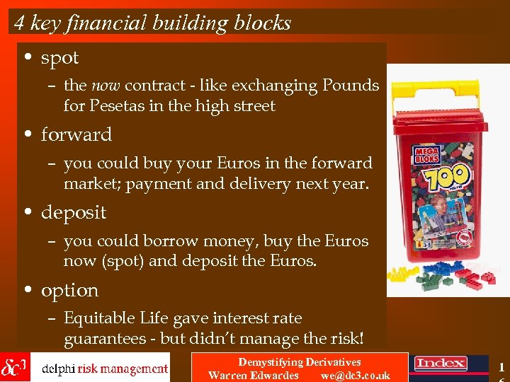 4 key financial building blocks • spot – the now contract - like exchanging