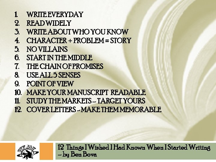 1. 2. 3. 4. 5. 6. 7. 8. 9. 10. 11. 12. WRITE EVERYDAY