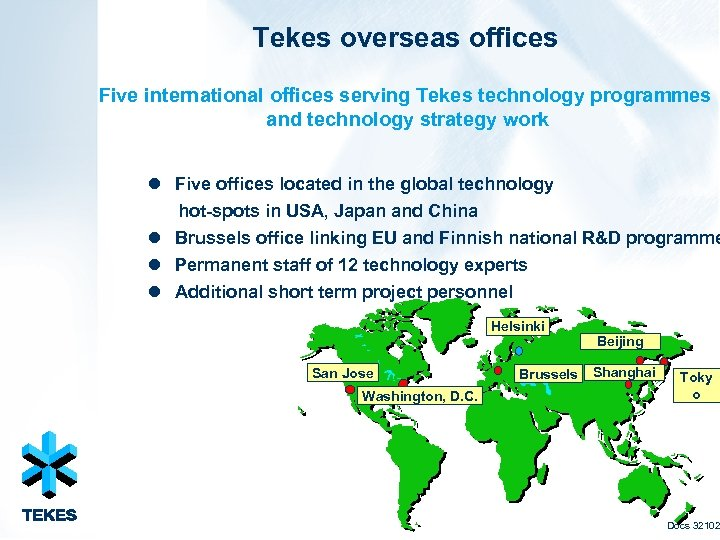 Tekes overseas offices Five international offices serving Tekes technology programmes and technology strategy work