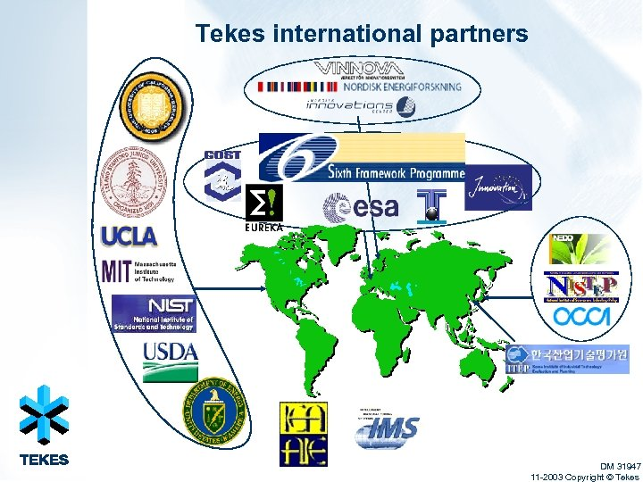 Tekes international partners DM 31947 11 -2003 Copyright © Tekes
