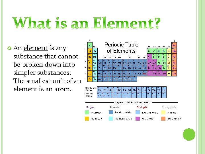 An element is any substance that cannot be broken down into simpler substances.